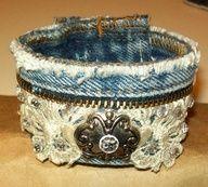 Shabby Chicks. . .happy little things: a little bit of lace, a little bit of denim. . . .