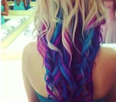 ohh! i love the blue and purple! I would go dark on top instead of blonde!!
