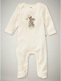 circus animal footed one piece  ivory frost  0-12 months