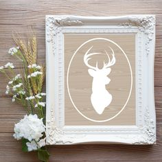 Rustic Woodland Deer Head art Printable 8x10 instant download art for you home or office Living room Home Decore by OrangeWillowDesigns on Etsy