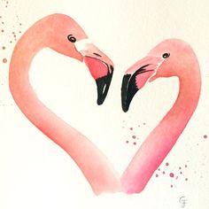 Original 'Flamingo Heart' Watercolor by RosalinaDesign on Etsy
