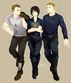 Chuck Hansen, Mako Mori, & Raleigh Becket.  I JUST WANT EVERYONE TO LIVE AND BE BEST FRIENDS OKAY? (Chuck pull down your shirt omfg that sliver of skin kill me)#pacificrim #fanart  artist: http://sodamu1002.tumblr.com/post/63310019407/triple-friends