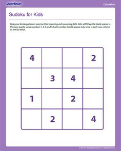 Sudoku for Kids - Free Critical Thinking Worksheet for Kids