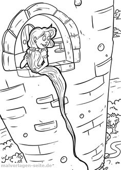 Free Printable Coloring Pages, Coloring Pages For Kids, Free Printables, Fairy Tale Activities, Free Stories, Rapunzel, 4 Kids, Pencil Drawings, Kindergarten