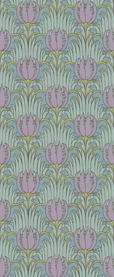 """Voysey Bird & Tulip Wallpapers - Arts & Crafts Home £10.00 / square foot. Highly stylized Tulips, tulip leaves and birds create a peaceful rhythm of ornament that offers a great sense of repose. This is a digitally produced design 21"""" wide with a 10.4"""" vertical repeat. It is a self-matching pattern. Matching Tulip frieze design available."""