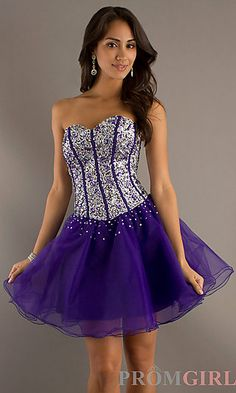Short Sweetheart Corset Dress at PromGirl.com