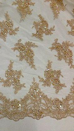 "GOLD MESH W/GOLD CORDED EMBROIDERY BEADS & SEQUINS BRIDAL LACE FABRIC 52"" 1 YD"