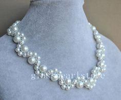 weiße Perle Halskette Glas Perle Halskette von glasspearlstore