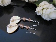 Champagne Cubic Zirconia and Mother of Pearl by IBKcreations, $31.95