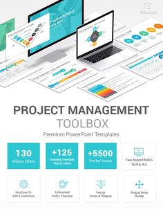 Project Management Toolbox PowerPoint Template Project Planning Template, Project Definition, Capacity Planning, V Model, Project Status Report, Ppt Slide Design, Gantt Chart, Budget Organization, List Of Activities