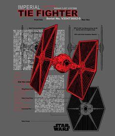 Imperial TIE Fighter Schematic T-Shirt