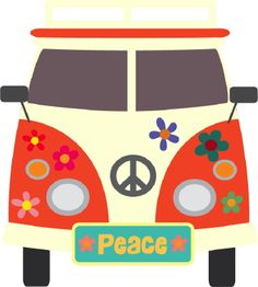 Clip art of a 1960s bus with hippy flowers and colorful peace signs painted on…