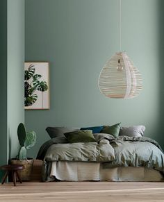 The Birth of Fluttering Tiny Bedroom Ideas For Couples The bedroom is a fantastic place to introduce a color scheme that suits the mood you need to fe. Bedroom Paint Design, Green Headboard, Tiny Bedroom, Home Decor, Bedroom Decor, Green Bedroom Design, Bedroom Color Schemes, Gray Interiors, Green Accent Walls