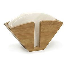 """Bamboo Coffee Filter Holder ($8.99) 2.75""""W x 7.9""""L x  4.25H - keep coffee filters in one cone-shaped holder that sits upright; constructed from durable bamboo, which is naturally replenishing grass & one of world's most renewable resources; easy to clean w/ damp cloth; renew finish w/ occasional use of mineral oil;"""
