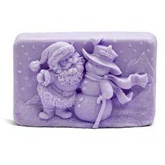 Molde para hacer jabón Pastilla navidad Papa Noel y muñeco de Nieve. 2D. Molde de silicona apto para hacer jabón de glicerina. Disponible en Gran Velada. DIY.