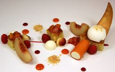 Peach Melba - Riesling poached peaches, vanilla panna cotta with peach gelee, brown butter cake.