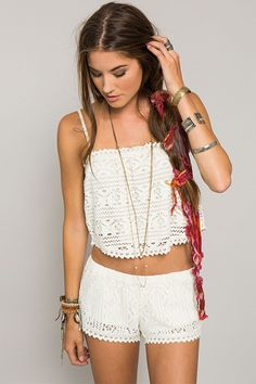 White Out in the Holly Top and Lorena Shorts by O'Neill Women's