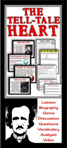The Tell-Tale Heart is one of Edgar Allan Poe's most famous short stories. This product has absolutely everything you need to teach the story in a comprehensive and engaging way. Teaching Language Arts, Teaching English, Reading Skills, Teaching Reading, The Tell Tale Heart, 7th Grade Ela, Essay Questions, Middle School English, Teaching Jobs