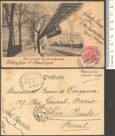 Postal, Wuppertal, Alemanha, tipográfico, colorido, circulado, Schwebebahn Eberfeld-Barmen, Cöln p