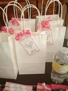 Girl Tennis Birthday Party- personalized hang tags for favor bags- by APartyStudio on Etsy, only $7.00 Love, Set, Match! Pretty pink, yellow, argyle, and kelly green!