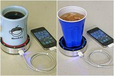 Cargador de móvil que funciona al poner encima una bebida caliente o fria