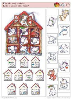 LOGICO PICCOLO | Pohádky | Pohádky - Karkulka - Vlk a sedm kůzlátek | Didaktické pomůcky a hračky - AMOSEK Brain Activities, Preschool Math, Wolf, Speech Therapy, Worksheets, Fairy Tales, Teaching, Cartoon, Play