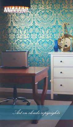My gabinet :) Place, where I am creative. I loooove blues and turquoises. I still have to change the commode.
