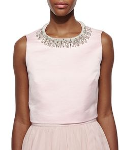 Emmilye Embellished-Neck Crop Top, Pale Pink, Size: 2 (SMALL) - Ted Baker London