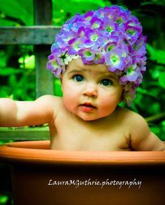 Hydrangea Flower Petal Hat Photo Prop. Fits Newborn through 5 month infant baby girls. Garden or Newborn Photo Session. Lavender Anne Geddes Inspired Hat.
