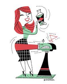 Vintage Illustration Art, Character Illustration, Graphic Design Illustration, Graphic Art, Retro Illustrations, Retro Images, Vintage Images, Retro Cartoons, Mid Century Art