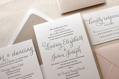 The Belle Suite - Taupe and Blush, Modern Letterpress Wedding Invitation Suite, Black, White, Script, Cursive, Calligraphy, Simple, Shimmer by DinglewoodDesign on Etsy https://www.etsy.com/listing/231472588/the-belle-suite-taupe-and-blush-modern