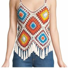 Captivating Crochet a Bodycon Dress Top Ideas. Dazzling Crochet a Bodycon Dress Top Ideas. Gilet Crochet, Crochet Fringe, Crochet Shirt, Crochet Granny, Knit Crochet, Crochet Designs, Crochet Patterns, Crochet Fashion, Crochet Clothes