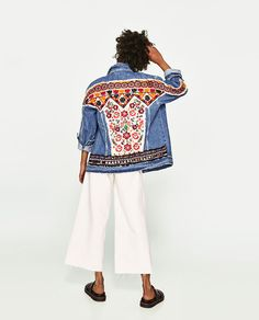Image 4 of EMBROIDERED DENIM JACKET from Zara