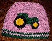 Boutique Crochet PINK JOHN DEERE Hat Custom 6-12m, 18-24 m, 2t-3t, 4-6-8, Teen, Adult
