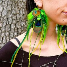 MOSSY MEADOW Peacock Feather Earrings SALE by FeatherPixie on Etsy