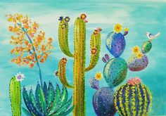 We are heading Southwest this Saturday 8/27 at 2pm CST. Live #AcrylicPainting Lesson by #angelafineart on YouTube. How to Paint Cactus, Succulents & Agave. DIY Desert Canvas Art