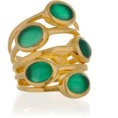 ISHARYA Gypsy Green Onyx Multi Stone Ring ($170) ❤ liked on Polyvore