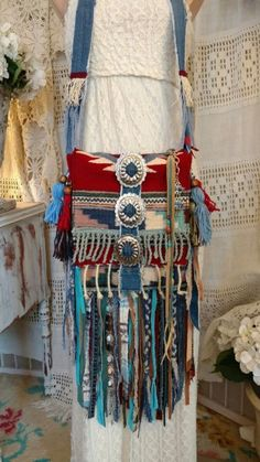 f1fcf0f605b Handmade Wool Serape Rug Fringe Bag Ibiza Festival Hippie Boho Hobo Purse  tmyers