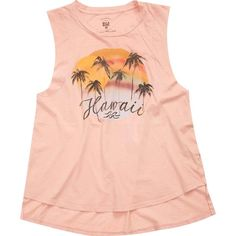 Billabong Women's Hawaii Sunset Tee ($30) ❤ liked on Polyvore featuring tops, t-shirts, rose dust, t-shirt/prints, graphic tees, peace t shirt, cotton t shirts, crew neck t shirt and sleeveless t shirt