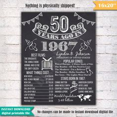 50th Birthday Chalkboard Poster Sign 50 Years Ago by DigitalBoard