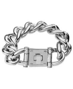 Michael Kors Bracelet, Silver Tone Curb Link Lock Bracelet - Fashion Jewelry - Jewelry & Watches - Macy's