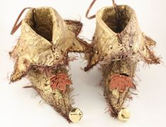 Fairy Shoes Bronze Brown belong to Forest Elf Glitter Pixie Elf, by NellsEmbroidery at Etsy