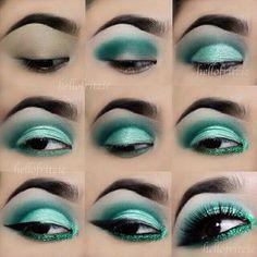Linda maquiagem verde