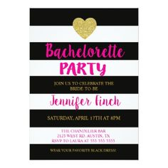 Black Stripe Bachelorette Party Invitation