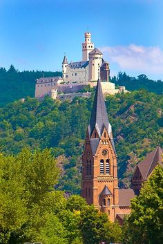 Marksburg Castle above the Rhine River, Germany