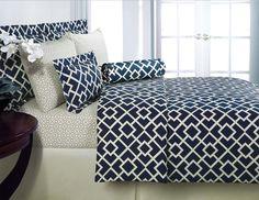 Navy bedding: Echelon Interlock Egyptian Cotton Duvet Cover Set