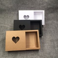 Kraft Drawer Box with PVC Heart Window for Gift Handmade Soap Crafts Jewelry Macarons Packing Brown Paper Storage Boxes factory and supplier Diy Gift Box, Diy Box, Paper Box Template, Box Patterns, Jewelry Packaging, Box Design, Paper Crafts, Creative, Handmade Gifts