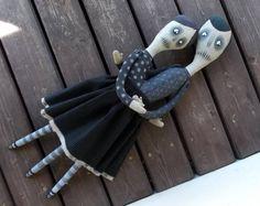 Siamese Twins Creepy Art Doll Painted Cotton Doll por crazypangolin