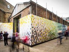 "#JohnsonTiles & #PtolemyMann 4224 #ceramictiles ""Prismatic Landscape"" / www.stylepark.com/en/news/directly-ahead-of-the-windsors/352312 / #ClerkenwellDesignWeek"