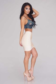 Arched Up Bandage Skirt - Nude - Skirts - Bottoms - Clothing